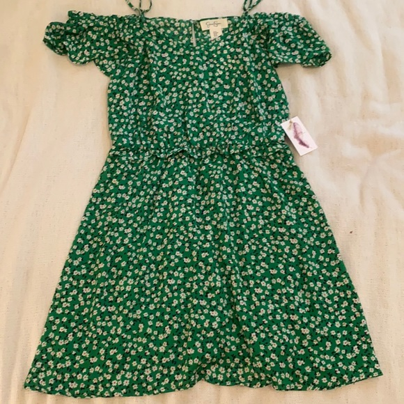 NEW Jessica Simpson Off-Shoulder Green Daisy Dress